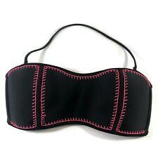 Cherokee black pink embroidered halter strapless removable strap bikini top L