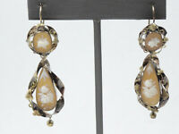 """ANTIQUE VICTORIAN c.1870 SOLID 15K GOLD CARVED CAMEO DANGLE DROP EARRINGS ~2.25"""""""