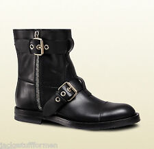 Gucci Men's Sz US 14 M / 13 G Black Leather Motorcycle Boots Made in Italy $1400