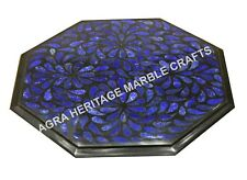 "15"" Marble Octagon Coffee Center Table Top Lapis Lazuli Inlay Stone Decor H3500A"