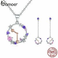 BAMOER Good time Flower Women CZ Jewelry Sets S925 silver Bracelet Ring Earrings