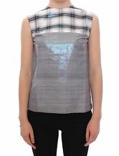 NWT $700 Roksanda Ilincic Gray Shiny Check Silk Blouse Vest IT40 /US6 /UK8/ S