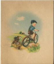 VINTAGE MAIL BOY BICYCLE WAGON BEAGLE PUPPY DOG FLOWERS BLUE SKY CARD ART PRINT