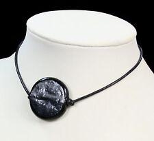Nero Murano Glass Bead Ciondolo Collana in pelle lucida