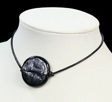 BLACK murano GLASS BEAD pendant LEATHER NECKLACE shiny