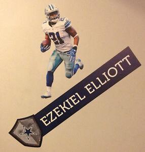 "Ezekiel Elliott FATHEAD 20"" x10"" Player Graphic +Name Banner Sign 32"" COWBOYS"