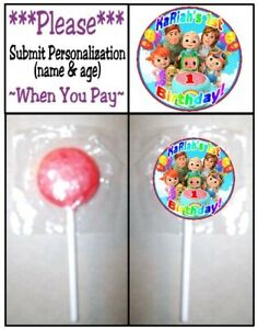24 Cocomelon Birthday Party Lollipop Labels Stickers Play Doh Tub Treat Bag