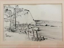 Original pen and ink drawing, beach Scene, signed and dated 1955. Mid 20th C Mod