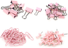 Semetall Binder Clips Paper Clips Push Pins Office Stationery Kit4 Styles 72pcs