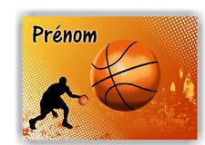 Plaque de porte en ( sur ) bois  Basket  avec prénom   N° 156 ( sport )