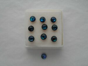 Abalone shell cabochons 4mm round cut blue cabochon 1 pair £1.50p