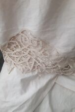 """Vintage Twin bed skirt antique cream Lace Edging 14"""" drop 100% cotton Lovely!"""