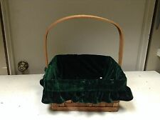 SQUARE Woven Dark Wicker Storage Organizer Gift Basket Green Velvet Liner 13x6.5
