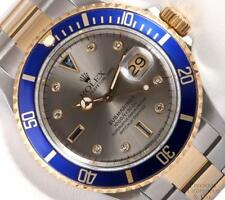 Rolex Submariner Date 16613 Two Tone 18k S/Steel 40mm Watch-Gray Diamond Dial