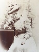 CABINET Card Lady In Beautiful Outfit Gorgeous Hat, W.R.HENNING Wanatah Indiana