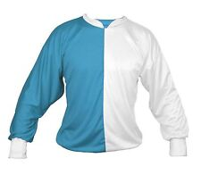 Adults Unisex Turquoise & White Jockey Shirt Silks ONLY - One Size Fancy Dress