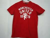 Mens Manchester United Large Red 100% Cotton Crew Neck Graphic T-Shirt