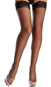 Fishnet Thigh High Stockings Lace Top Silicone Stay Up Back Seam Hosiery BW602