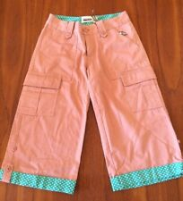Twopercent 2% On Dog NEW Pink 100% Cotton Wide Leg Cargo 3/4 Cropped Pants M