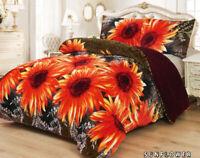 3 Piece Sunflower Borrego Flannel Sherpa Blanket Queen Size 6lb