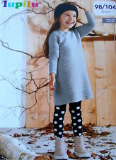 New LUPILU Girls Knitted Jumper Dress- Grey Color Size 2-4 Years/ 98/ 104 cm