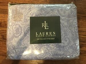 Ralph Lauren Monotone Paisley Lavender Blue Twin Flat Sheet NEW