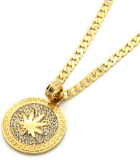 "Mens Medallion Marijuana Gold Clear 24"" Cuban Curb Chain Pendant Necklace"