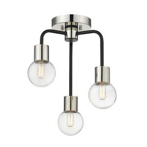 "Z-Lite Neutra 3 Light 17"" Semi Flush, Black/Nickel, Clear - 621-3SF-MB-PN"