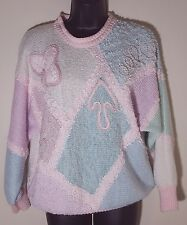 Vtg 80s Jaclyn Smith Oversized Sweater Sz L 10 12 Pearls Pastel Colorblocked