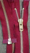 """VTG NOS Jacket Zipper 10x YKK JAPAN #8 Separating Metal BRASS 28"""" RED"""