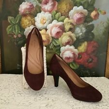 Clark's Indigo Genuine Suede Leather platform pumps Wine Color Size 8.5 M