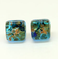 Blue and Gold Handmade Authentic Murano Venetian Glass Stud Earrings