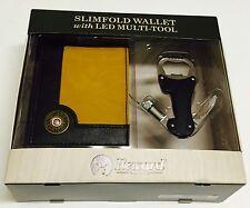 New Gift Set - Men's Slim Bi-fold Wallet with LED Light Multi-Tool MSRP $36