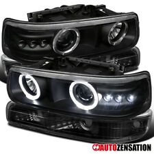 Fits 1999-2002 Chevy Silverado Black LED Halo Projector Headlights+Bumper Lamps