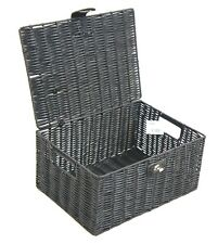 Hamper Storage Basket Black Medium Resin Woven Box With Lid & Lock