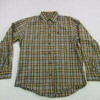 Timberland Mens Button Front Shirt Blue Brown Long Sleeve Pocket Plaid Medium