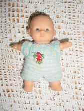 "5"" Gi Go-Baby Doll-Blue White Striped Clothes-Soft Stuffed-Bald-Blue eyes"