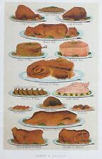 OLD ANTIQUE PRINT MRS BEETON MEAT FOOD DISHES c1890's PORK BEEF LAMB COLOURED