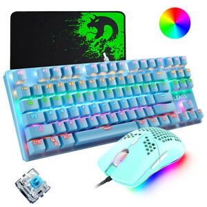 AU Mechanical Gaming Keyboard Gaming Mouse Mice Pad Set Blue Switch RGB Backlit