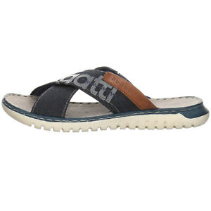 bugatti Idaho Pantolette Herren Sandalen Sandaletten Textil uni blau 33842