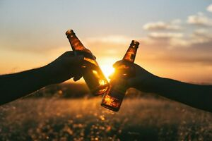 SUMMER EVENING SUNSET BEERS CANVAS PICTURE POSTER PRINT WALL ART UNFRAMED #814
