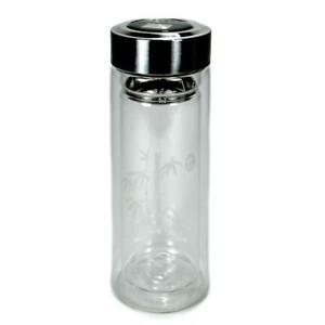 INSULATED GLASS TEA THERMOS 9oz 270ml Double Wall Travel Strainer Infuser w Lid