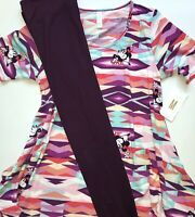 Lularoe PERFECT T Shirt Disney Minnie Medium M W/ TC Eggplant Leggings Outfit