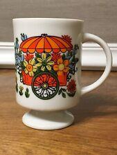 Flower Cart Pedestal Mug MCM Colorful Umbrella Sunflower Vintage