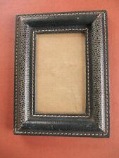 cadre photo vintage avec verre carton façon cuir vert piqure sellier souvenir