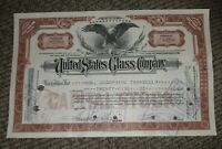 STOCK CERTIFICATE 25 Shares US UNITED STATES GLASS COMPANY CO Pennsylvania OLD!