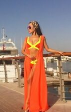 ORANGE LONG SUMMER MAXI DRESS SUNDRESS V-OPEN PARTY BEACH EVENING CLASSIC STYLE*