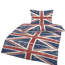 4 tlg Bettwäsche 135x200 cm England Flagge Baumwolle Renforce Union Jack Vintage