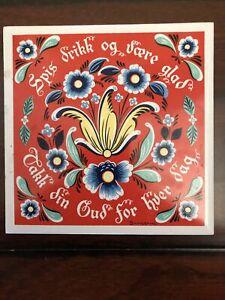 Vintage Swedish Tile Trivet Berggren Trayner Scandinavian Floral