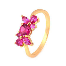 Flower 18K yellow Gold Plated Garnet Round CZ Stone Promise Love Band Ring